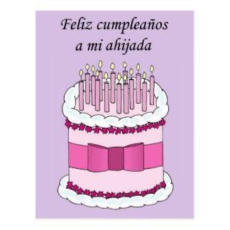 Spanish Goddaughter Happy Birthday Postcard
