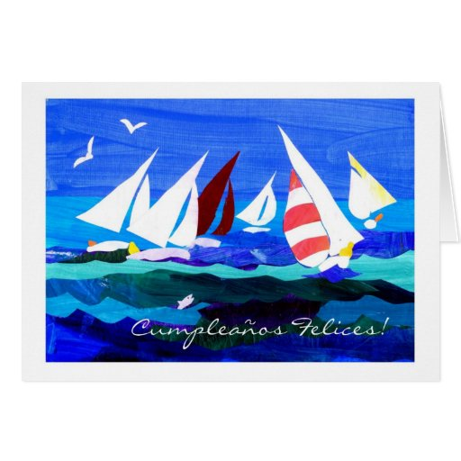 Spanish Greeting Birthday Card - Sailing