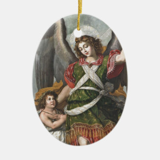 Spanish Guardian Angel and Child Ceramic Ornament