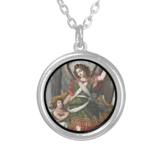 Spanish Guardian Angel and Child Silver Plated Necklace