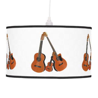 Spanish Guitar Acoustic Bass and Ukulele Ceiling Lamps
