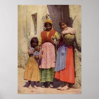 Spanish Gypsy Girls, Vintage 1917 Poster