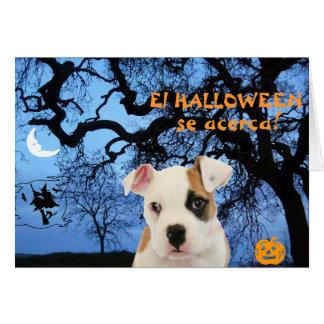Spanish: Halloween: Scary pup Card