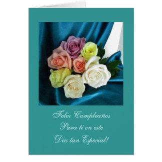 Spanish: Happy Birthday/ Feliz Cumpleanos teal Greeting Card