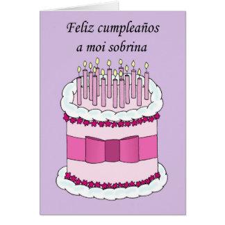 Spanish Happy Birthday Niece, cartoon cake. Card