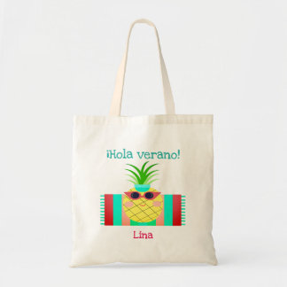 "Spanish ""Hola verano"" Tote Bag with Pineapple"