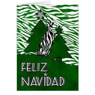 Spanish Language Christmas Feliz Navidad Zebra Card