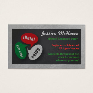 Spanish Language Tutor Business Card