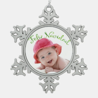 Spanish Merry Christmas Photo Pewter Snowflake Ornament