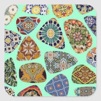 Spanish & Mexican Tile Mosaic Square Sticker