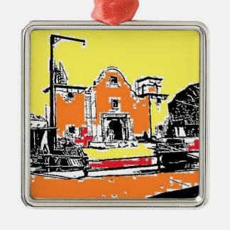 Spanish Mission in Sunshine Silver-Colored Square Ornament