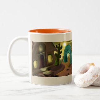 Spanish Mission Southwestern Abstract Art Two-Tone Coffee Mug
