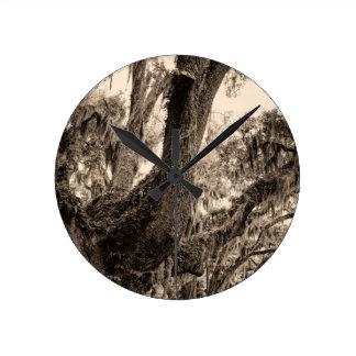 Spanish Moss Adorned Live Oak In Sepia Tones Wall Clock