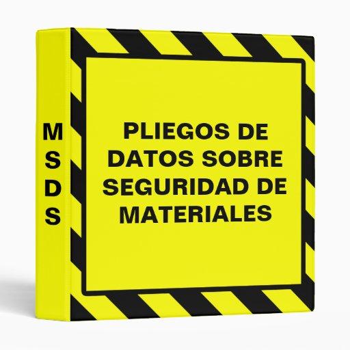 spanish msds yellow osha binder