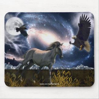 Spanish Mustang, Bald Eagle, & Galaxy Art Mousepad
