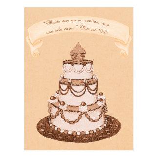 Spanish No Longer 2-1 Flesh~Wedding Cake Scripture Postcard