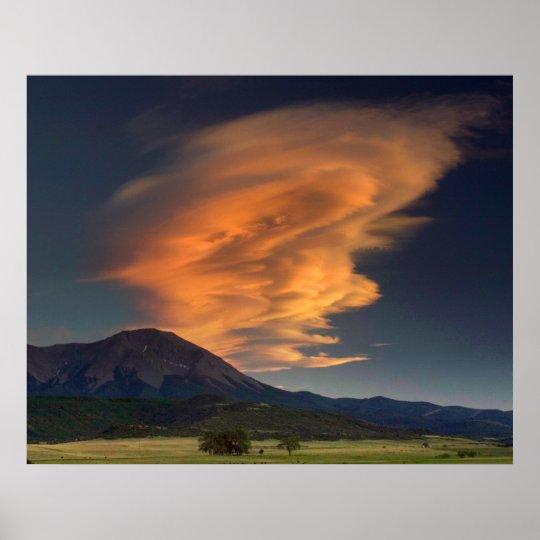 Spanish Peaks Wavecloud Poster