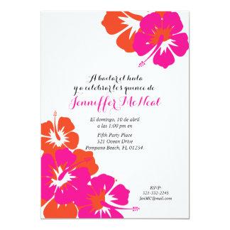 "spanish pink orange QUINCEANERA LUAU birthday 5"" X 7"" Invitation Card"