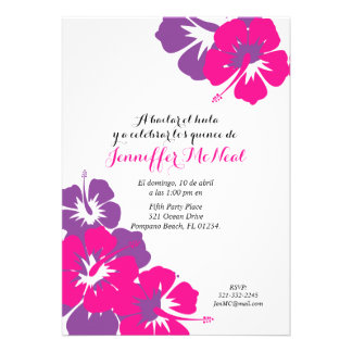 "spanish pink purple QUINCEANERA LUAU birthday 5"" X 7"" Invitation Card"