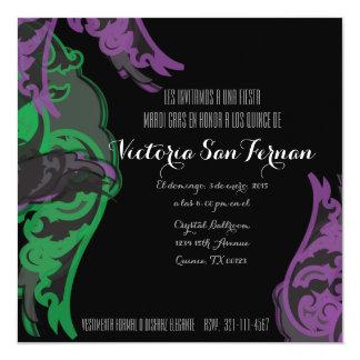 """spanish quince MARDI GRAS birthday invitation 5.25"""" Square Invitation Card"""