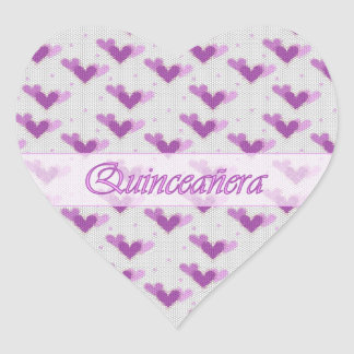 Spanish Quinceañera Pink Purple Hearts Sticker