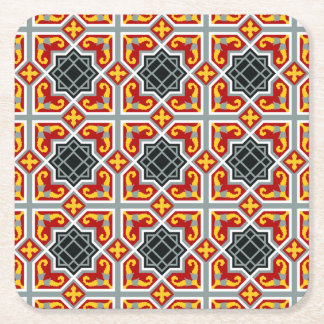 Spanish red and yellow octagonal pattern square paper coaster