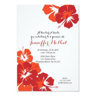 "spanish red orange QUINCEANERA LUAU birthday 5"" X 7"" Invitation Card"
