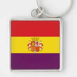 Spanish Republican Flag - Bandera República España Silver-Colored Square Keychain
