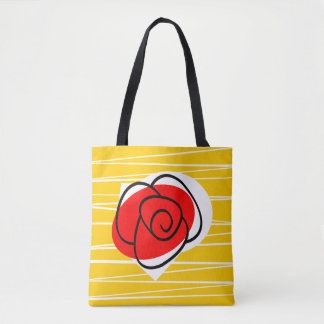 Spanish Rose all over tote red back