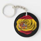 Spanish Rose Flag on Black Keychain