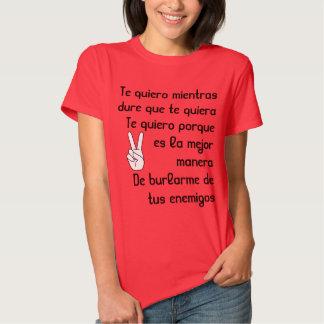 Spanish song lyrics Te quiero T Shirts