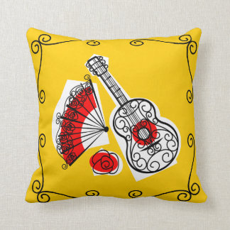 Spanish Souvenirs corners red back Throw Pillow