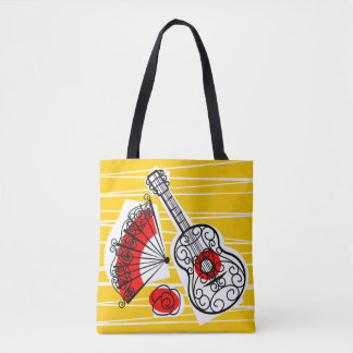 Spanish Souvenirs Group all over tote red back