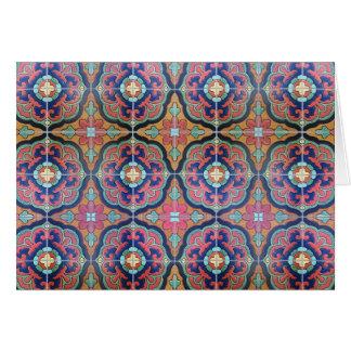 Spanish Tile Floret - Orange and Blue Card