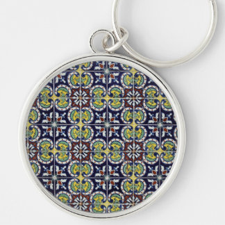 Spanish Tile in Mexico Silver-Colored Round Keychain