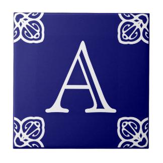 Spanish Tile Letter -White on Blue