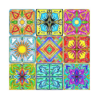 Spanish tiles colorful canvas print