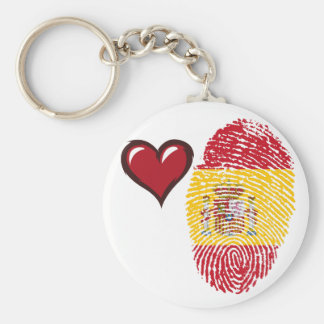 Spanish touch fingerprint flag basic round button keychain