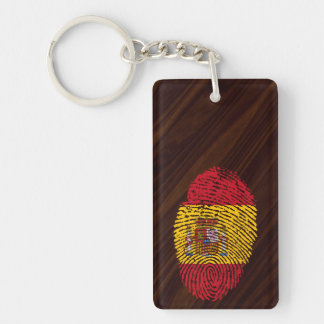 Spanish touch fingerprint flag Double-Sided rectangular acrylic keychain