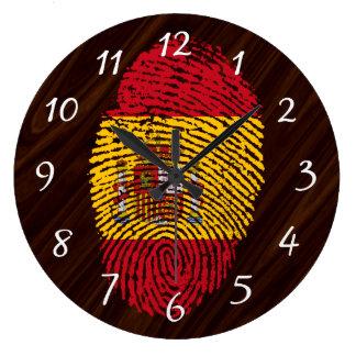 Spanish touch fingerprint flag large clock