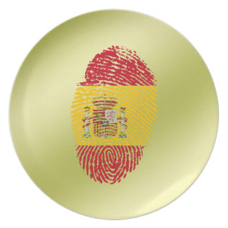 Spanish touch fingerprint flag plate
