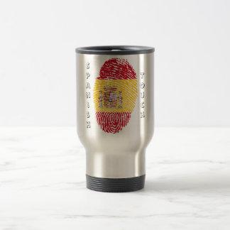 Spanish touch fingerprint flag travel mug