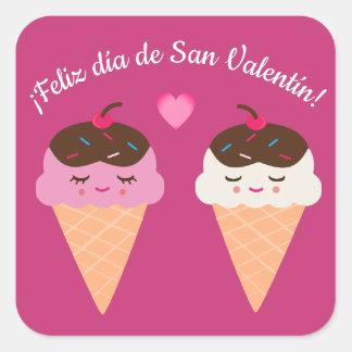 Spanish Valentine's Day Sticker with Ice Cream