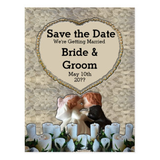 Spanish White Bride & Groom Save the Date Postcard