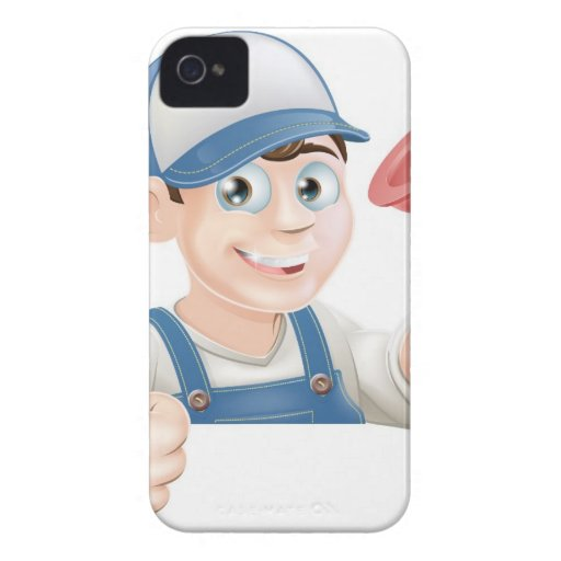 Spanner man over banner thumbs up iPhone 4 Case-Mate case