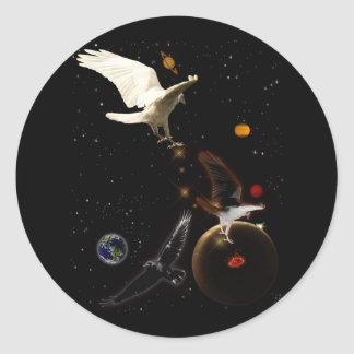 """Spark of Creation"" White Raven Gifts Classic Round Sticker"