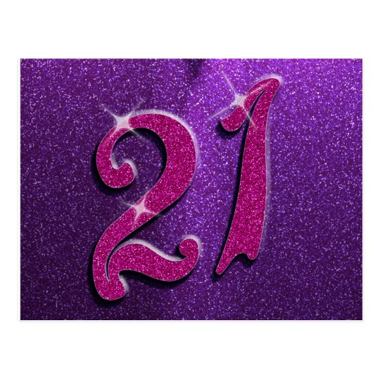 Sparkle 21st Pink and Purple Birthday Postcard