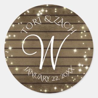 Sparkle and Barn Wood Monogram Round Sticker