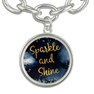 Sparkle And Shine Gold & Watercolor Typography Art Charm Bracelet