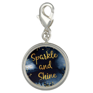 Sparkle And Shine Gold & Watercolor Typography Art Charms